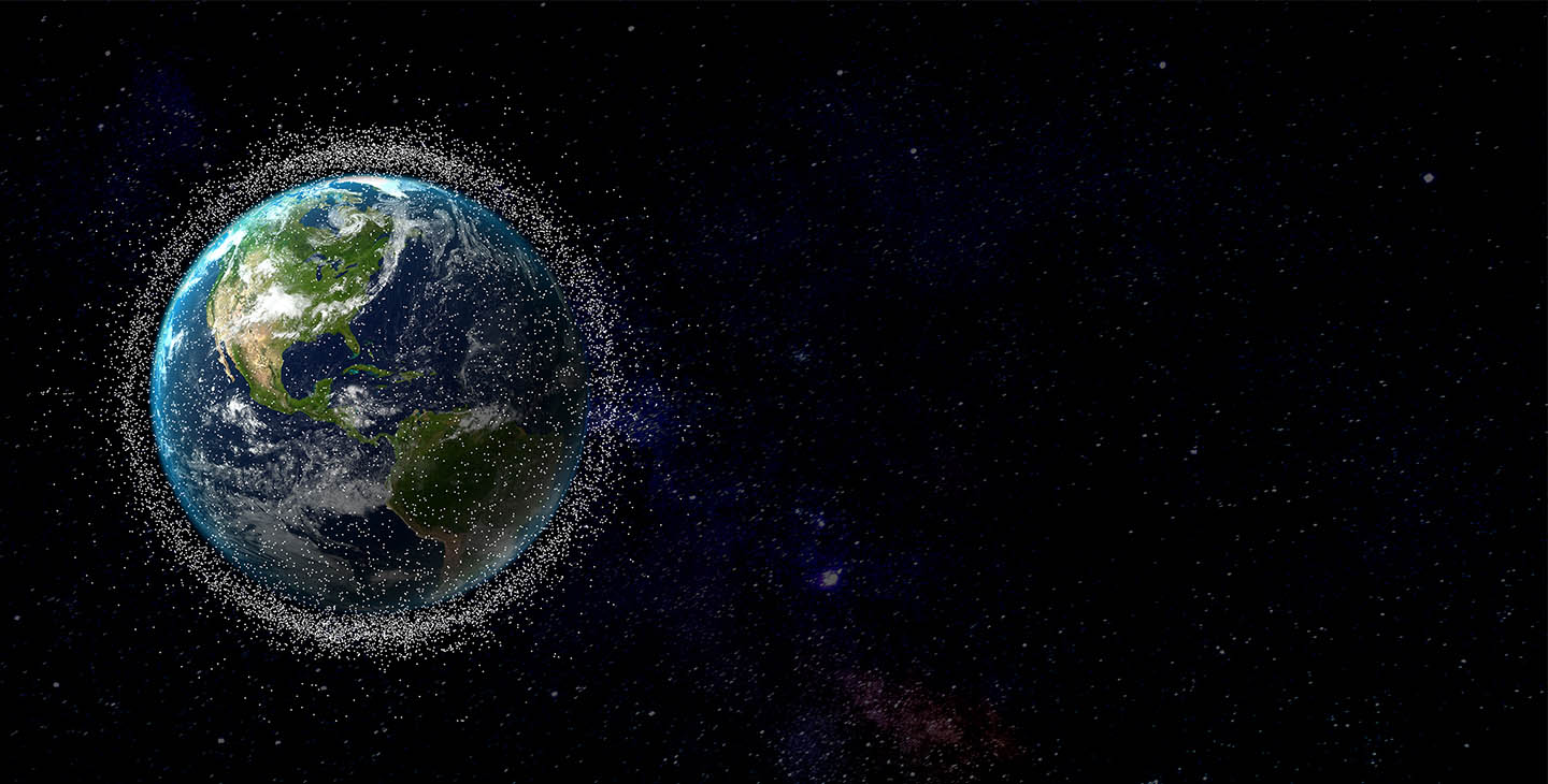 View of the Earth from space with hundreds of thousands of low earth orbit mega-consetallation debris polluting the LEO space