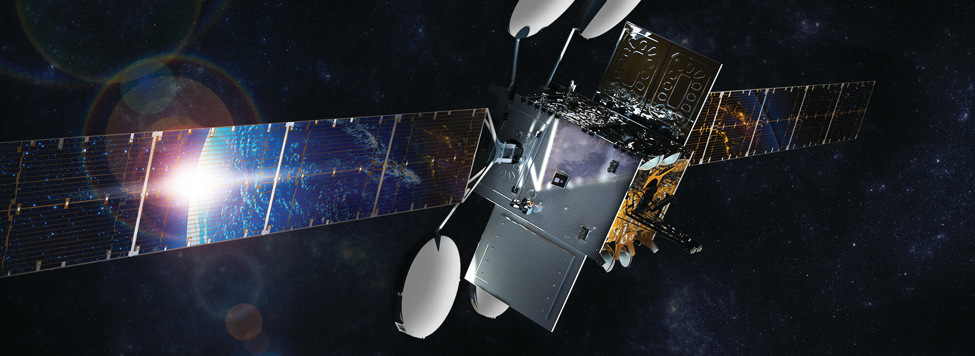 ViaSat-2 Satellite Rendering with Flare