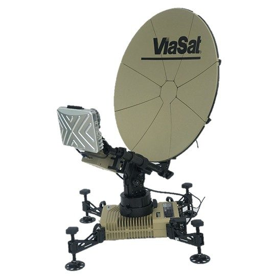 Product image of a tan Multi-Mission ground terminal featuring a black Viasat logo and TRIA