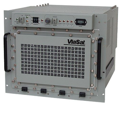 Front right angled product image of a gray RT-1829 with a Viasat logo on the front