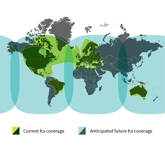 Viasat Ka-band SATCOM current and anticipated future coverage map