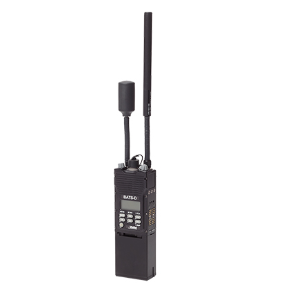 Front left angled view of a black BATS-D AN/PRC -161 handheld radio with antennas attached