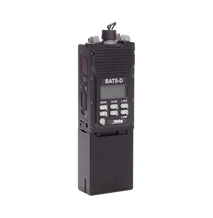 Front right angled view of the BATS-D  handheld radio for battlefield awareness, without antennas attached