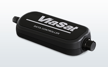 Product image of a black SATCOM data controller with a white Viasat logo