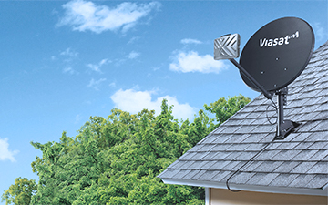 A sloped roof mount example with a Viasat satellite dish installation