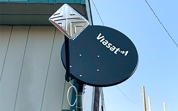 A wall mount example with a Viasat satellite dish installation